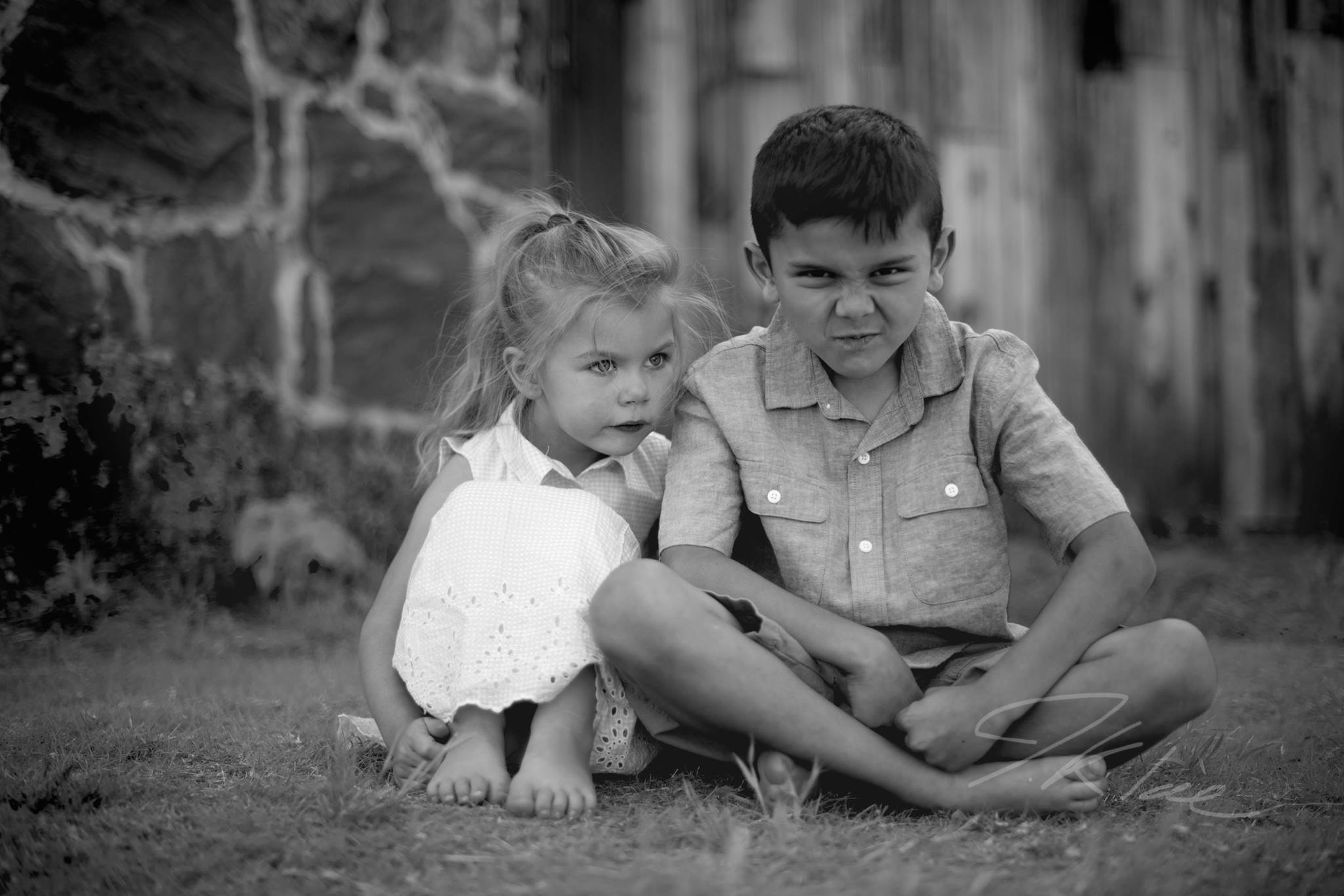 Frisco Texas Kids Photoshoot in Black and White with Brother and Sister