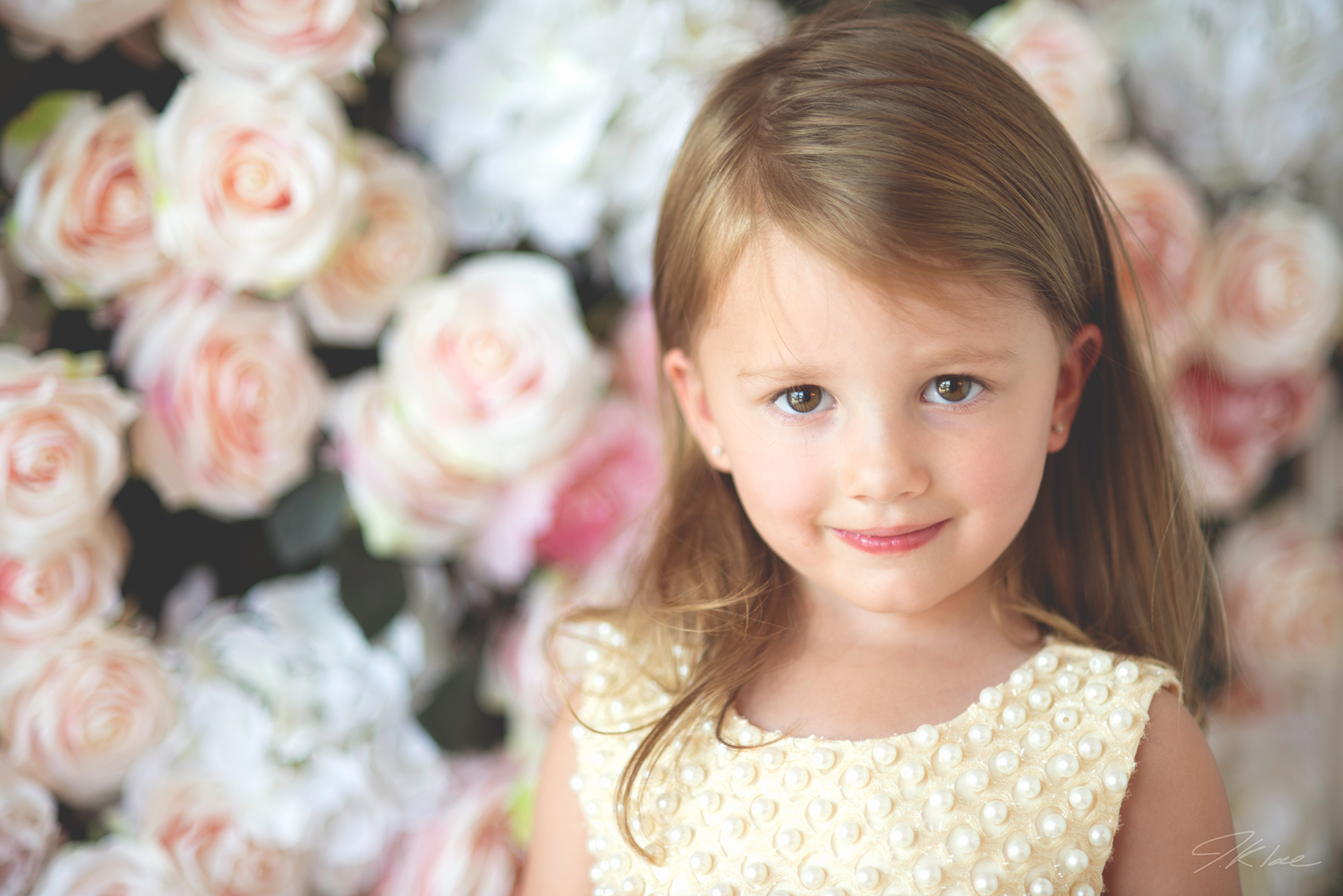 Princess Images of toddler with flower wall
