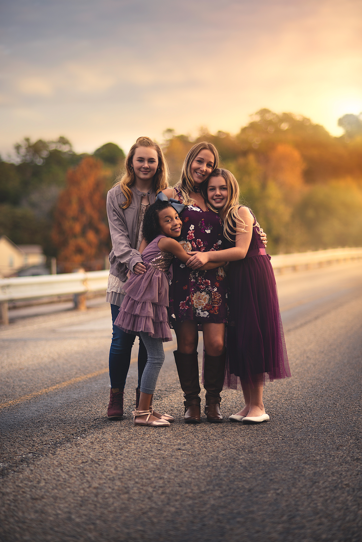 Family Portrait of Mother with Daughters during sunset in Lindale Texas