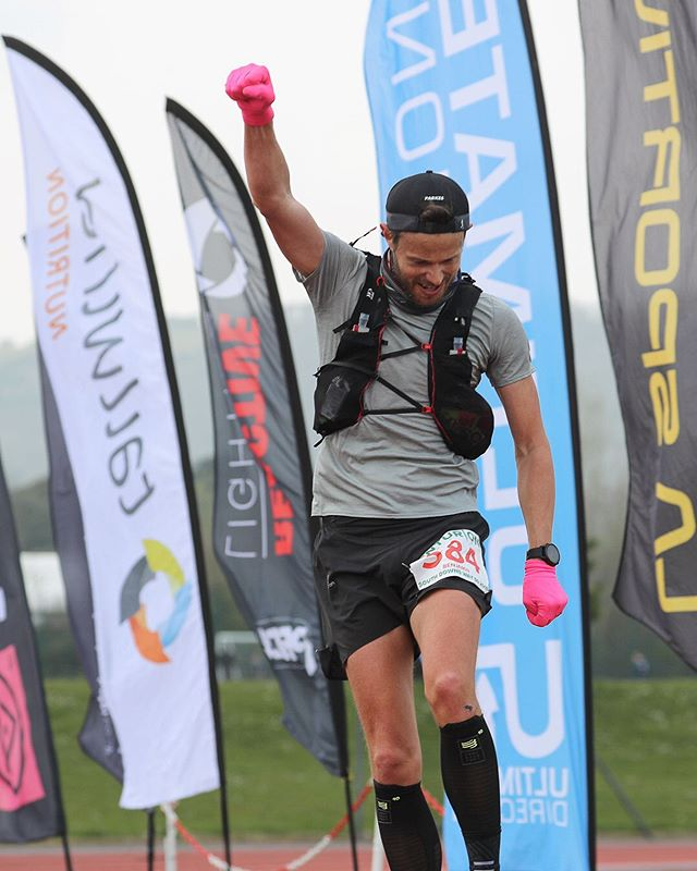 The injury has gone!! 🙂 Leaping for joy up and over the finish line at the South Downs Way 50.. ⠀ Just two months ago I was out, injured, resigned to spectating at Trans Gran Canaria 128k.. the race I'd worked so hard to train for.  Runners knee had sidelined me to minimal running, rehab and physio all with a big challenge ahead. ⠀ Thanks to Scott 🙌 @therunningworksldn we put a plan in place and just kept at it.. day after day.. week after week.  Building back up slowly, with the goal shifted to get race ready for SDW50. ⠀ Monster walks, side leg lifts, lunges and squats all worked for me to shift it! ⠀ If you're out injured, I know it really sucks.. but work hard and you can get back on track sooner than you might think.  Be patient and trust the process!