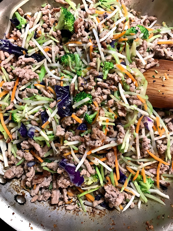 Add those veggies into the mix! I use broccoli slaw a lot because it is chopped small enough my kids cannot pick anything out so they get the nutrition from vegetables for their growing bodies.