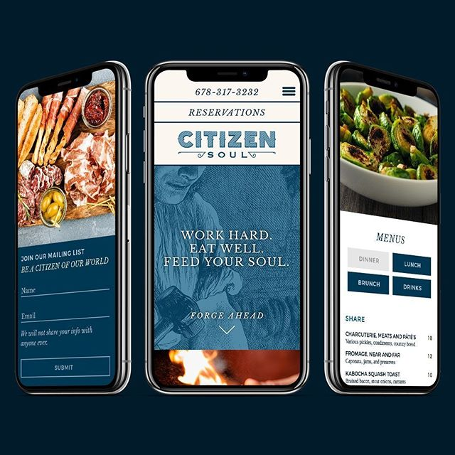 #websitedesign for @CitizenSoul_alpharetta. Mobile first design with all the features a new restaurant really needs.⠀ •⠀ •⠀ •⠀ With @nocturnalsketches. In partnership with Hot, Inc.⠀ #restaurantwebsite #website #restaurantdesign #craftbeer #restaurants #delicious #restaurantidentity #restaurantbranding #californiacuisine in #alpharetta #restaurantmarketing #restaurantlogo #funwithfood #restaurant #brandstrategy #757 #food52 #foodie #norfolk #atlanta #atlantaeats #gritsandgrids @gritsgrids #artofthemenu #restaurantmarketing