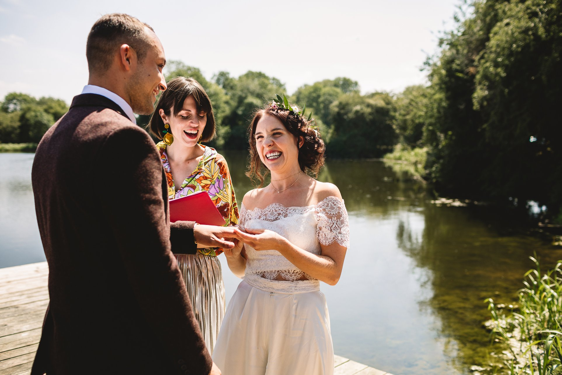 Candice and Lee's chose to kickstart their wedfest weekend with a humanist wedding ceremony at Berryfields, in Yarwell.   Image:    Kate Jackson Photography