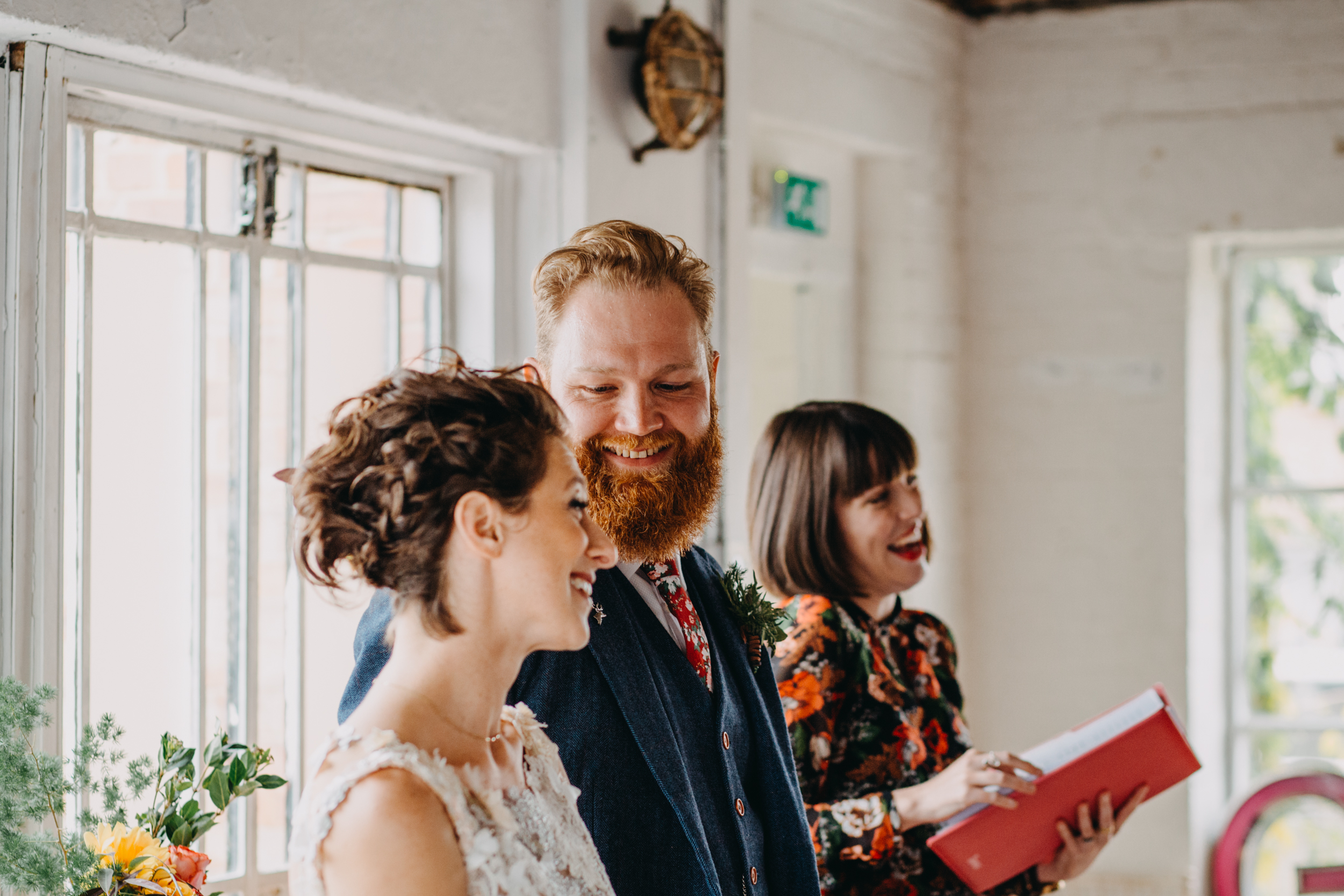 Liane and Michael's 'Jewmanist' ceremony at One Friendly Place, in Deptford. Image by  Lex Fleming.