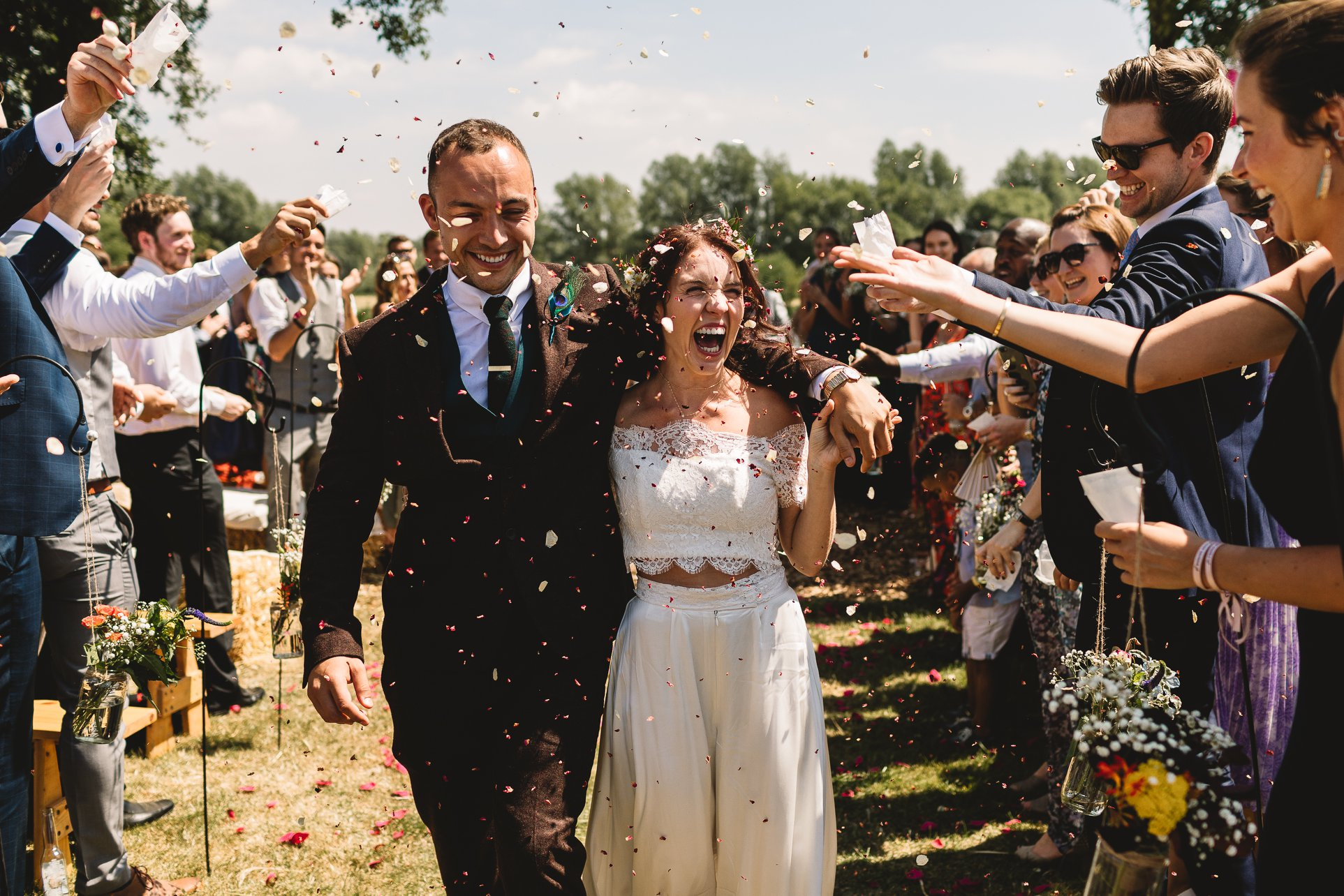 Candice and Lee's incredible wedding festival weekend at Berryfields, Yarwell. Image by  Kate Jackson Photography.