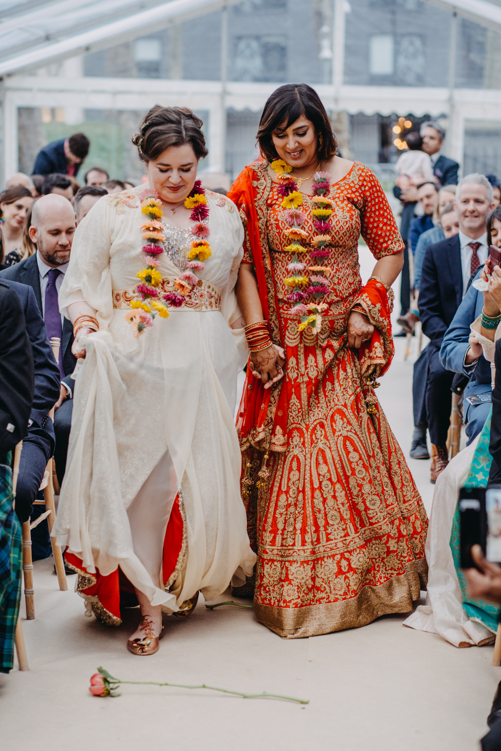 The theme of florals ran throughout Kirsty and Reshma's ceremony.  Image by    Lex Fleming