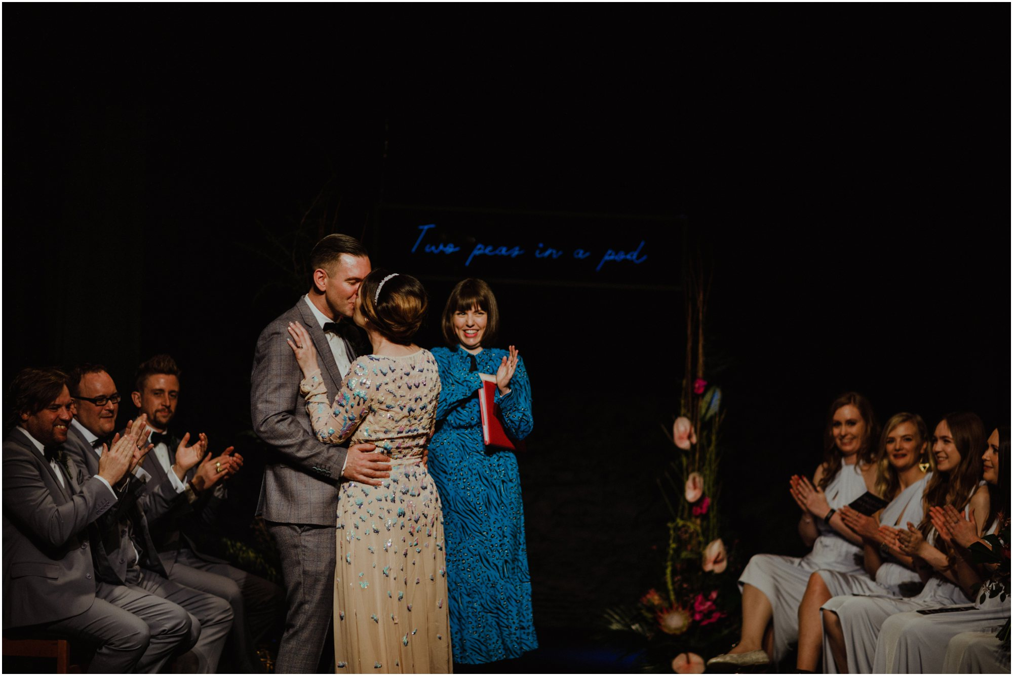 Melissa and Dave's humanist wedding ceremony took place at The Lantern Theatre, Sheffield. Image by     Photography 34