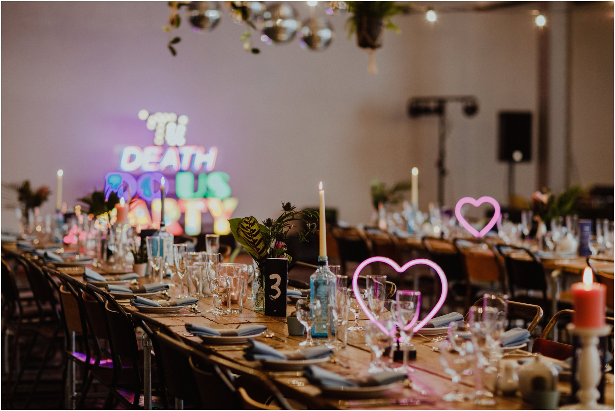 Til Death Do Us Party sign was the centre piece of Melissa and Dave's Trafalgar Warehouse reception  Image by    Photography 34