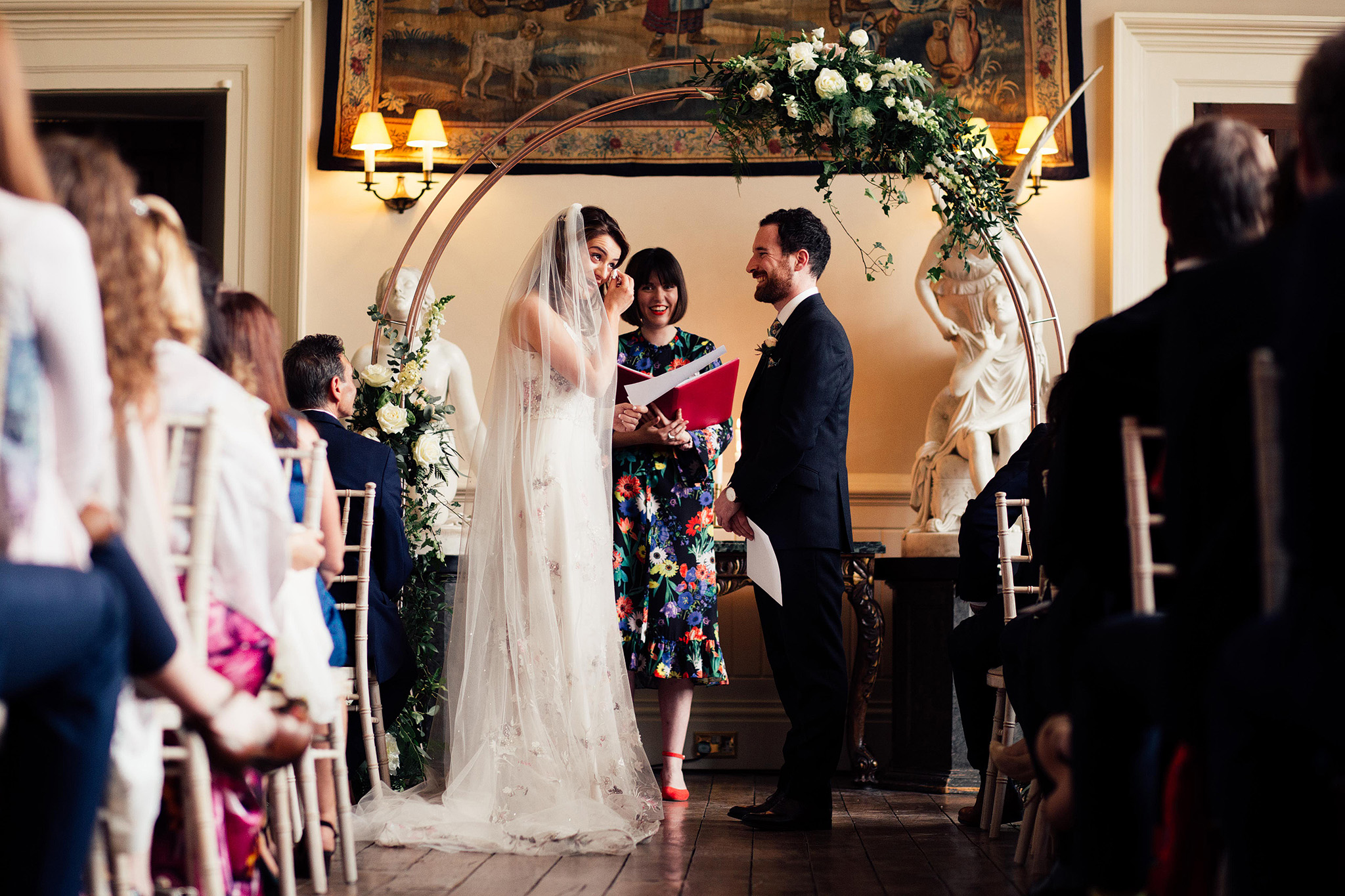 Natasha and Dan getting emotional reading their personal vows to each other.   Image by Harry J Michael