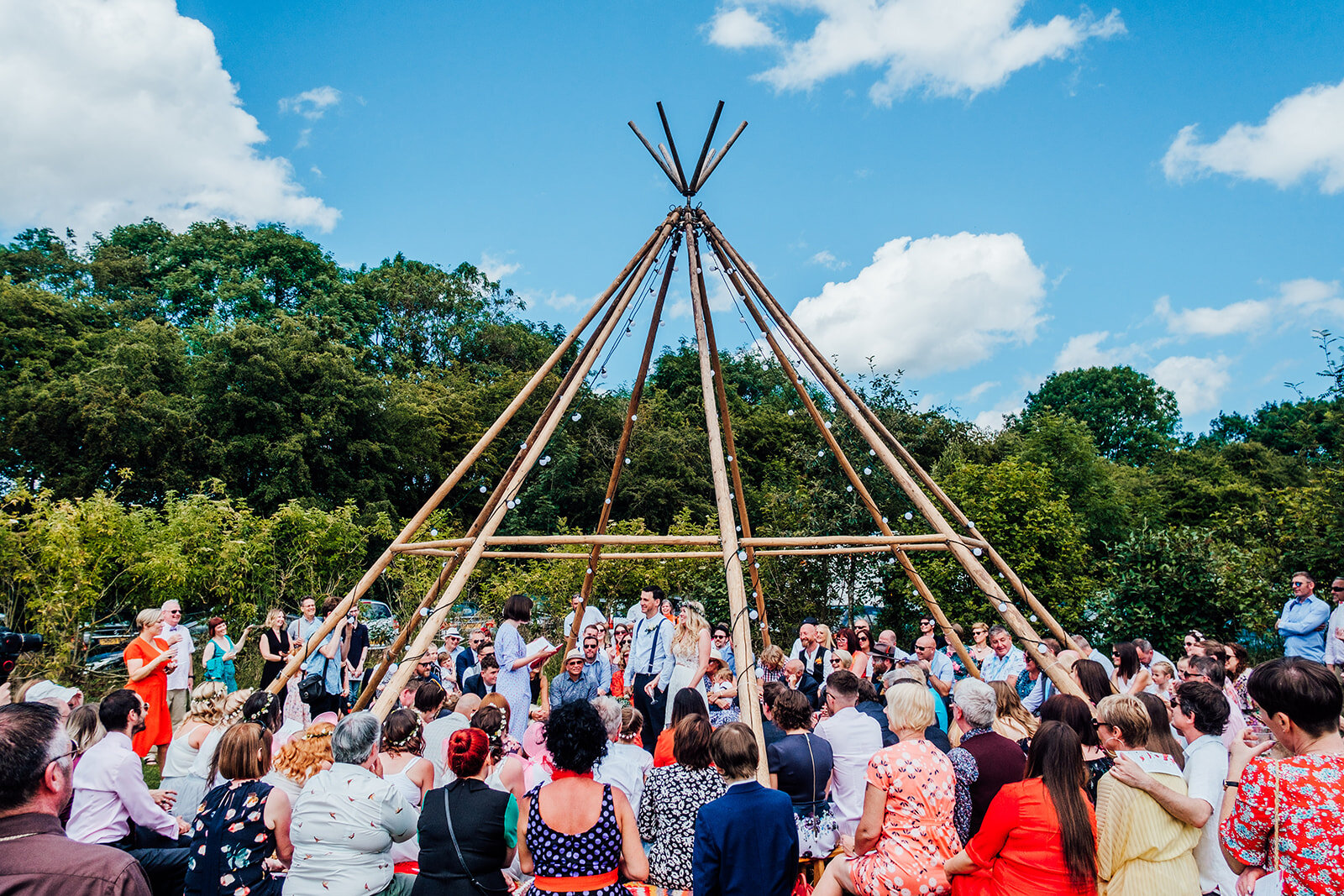 Chris and Polly's wedding was a two-day wedding festival shebang at the stunning  Hideaway at Baxby Manor . Image by   Anna Pumer Photography
