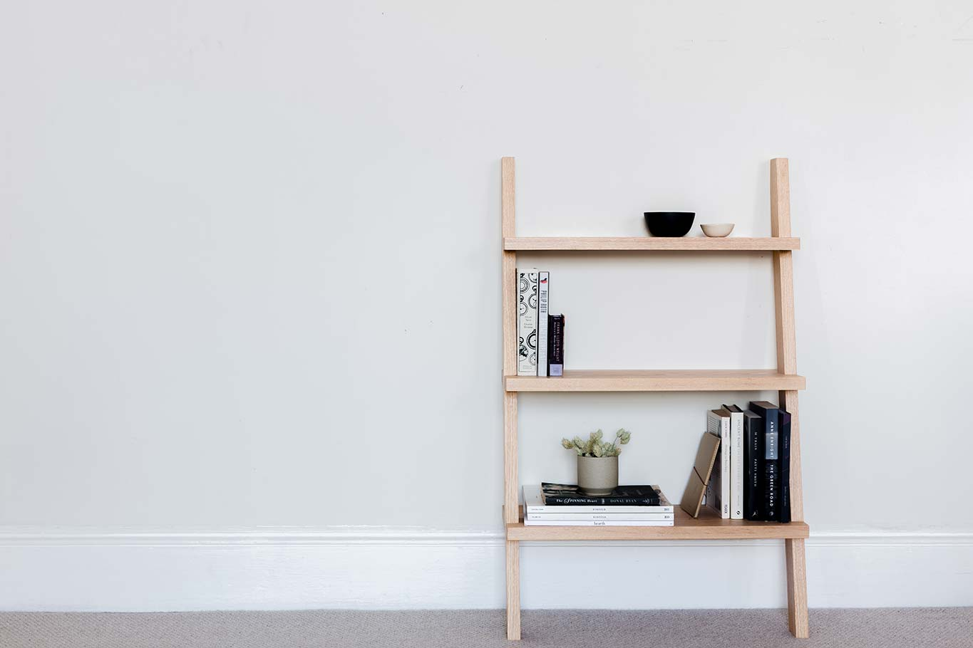 Repose Bookcase - simply rests against the wall of your favourite reading spot