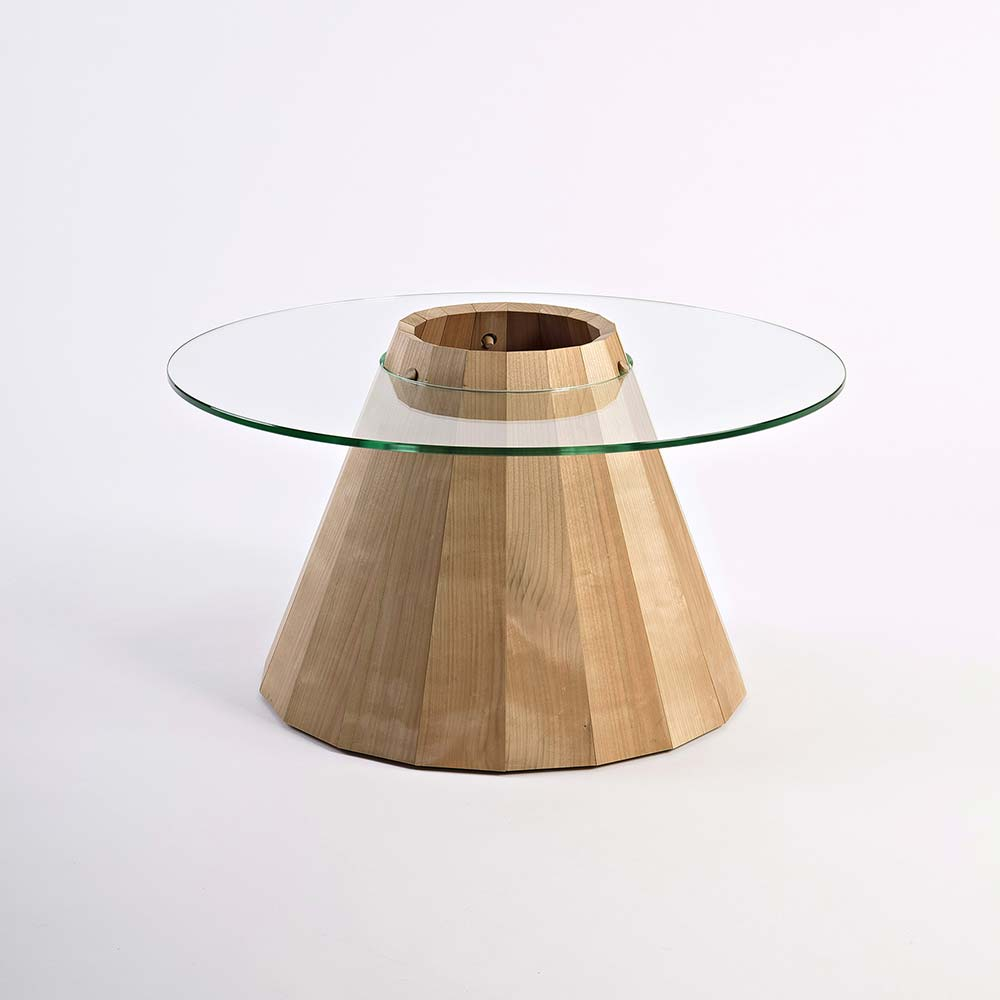 Concept - 'phoenix I' is made from air-dried, solid Irish birch sourced from a local sawmill in Co. Wicklow. The design is inspired by the craft of barrel making with the base being made from 18 staves and the circular top acting as the hoop that locks the staves together. This design accommodates any natural shrinkage that may occur in the air-dried staves.'phoenix I' was shortlisted for the IDI Design Awards 2015 in two categories, Furniture Design and Sustainable Design