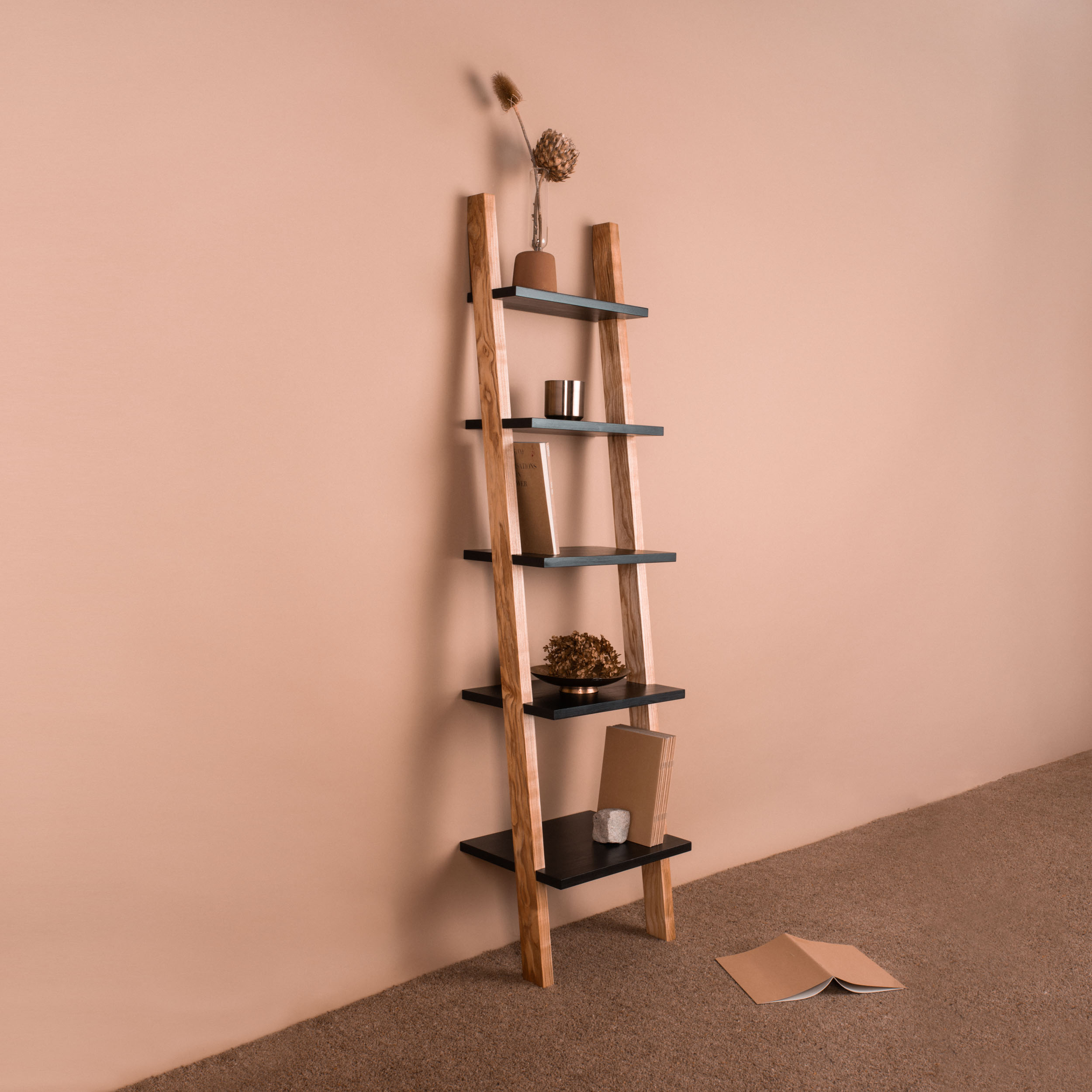 Repose Shelving Five - handmade design in wild Irish ash and black waxed Finnish pine