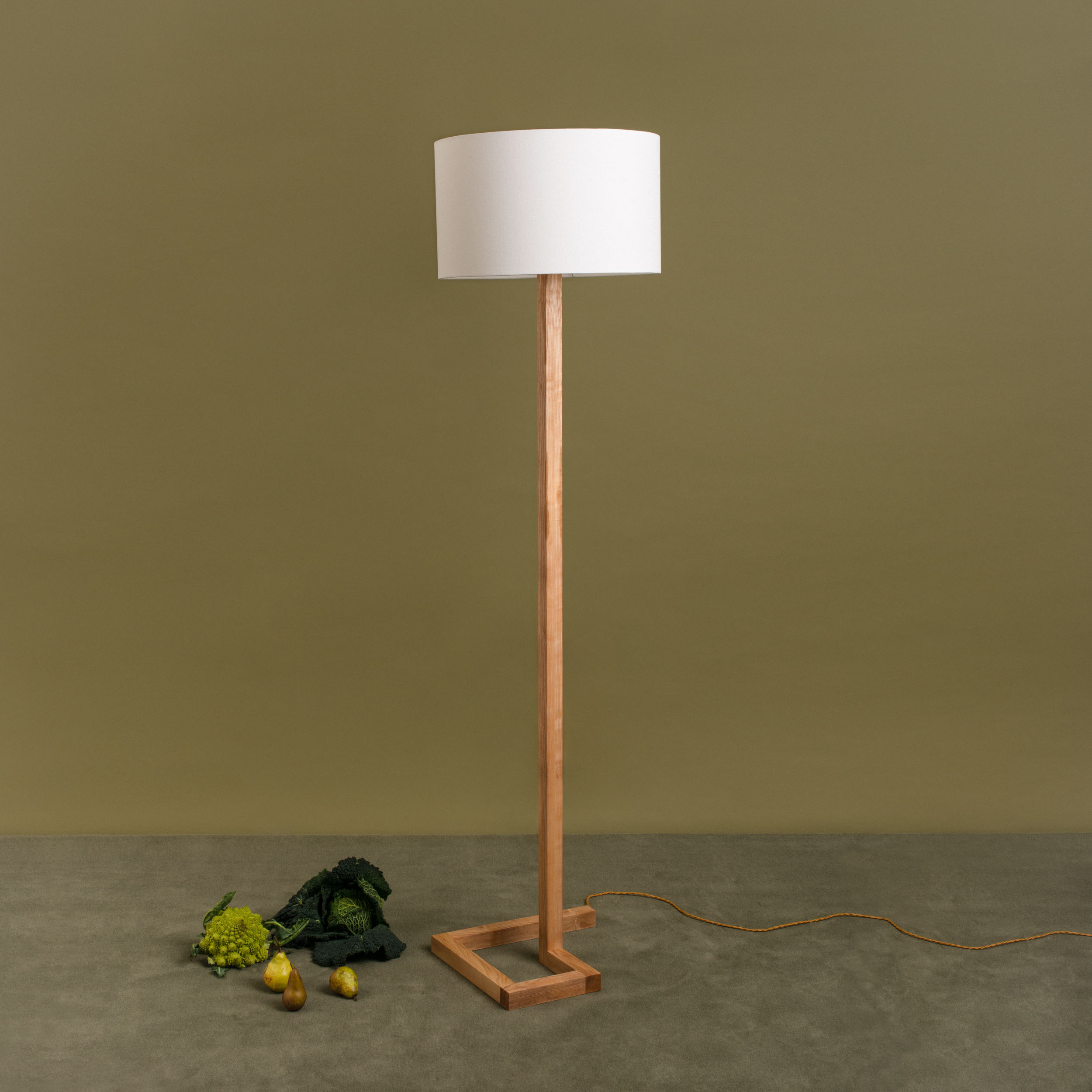 Spiral Floor Lamp - handmade design from wild Irish ash or ebonised European oak