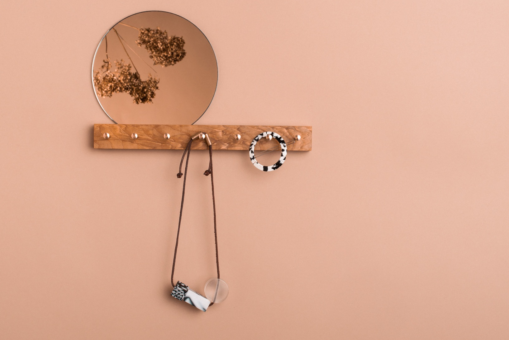 Jewellery hanger - handmade from wild Irish ash and brass with a felt backed Mirror