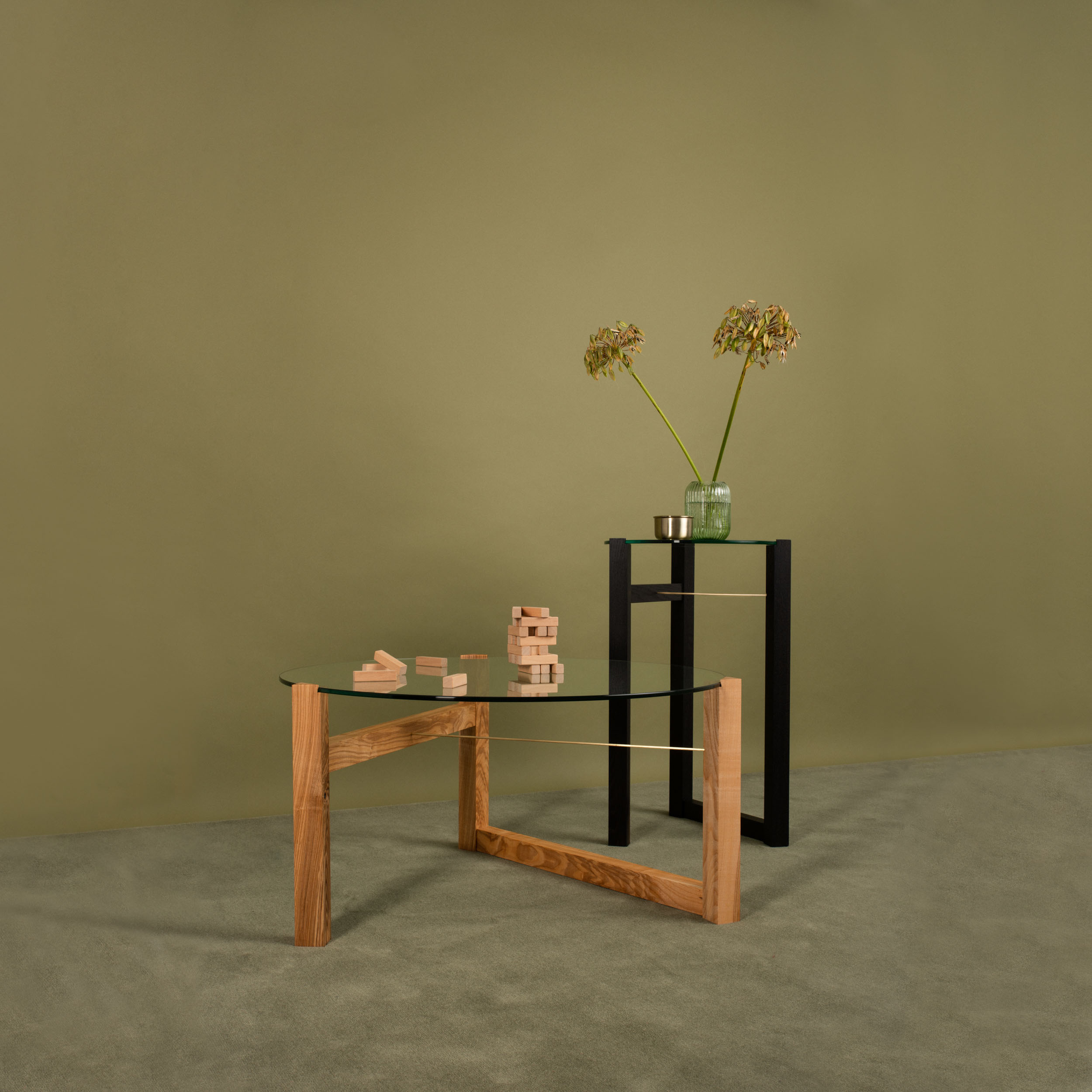 Trigonon Low Table - handmade design in wild Irish ash or ebonised European oak