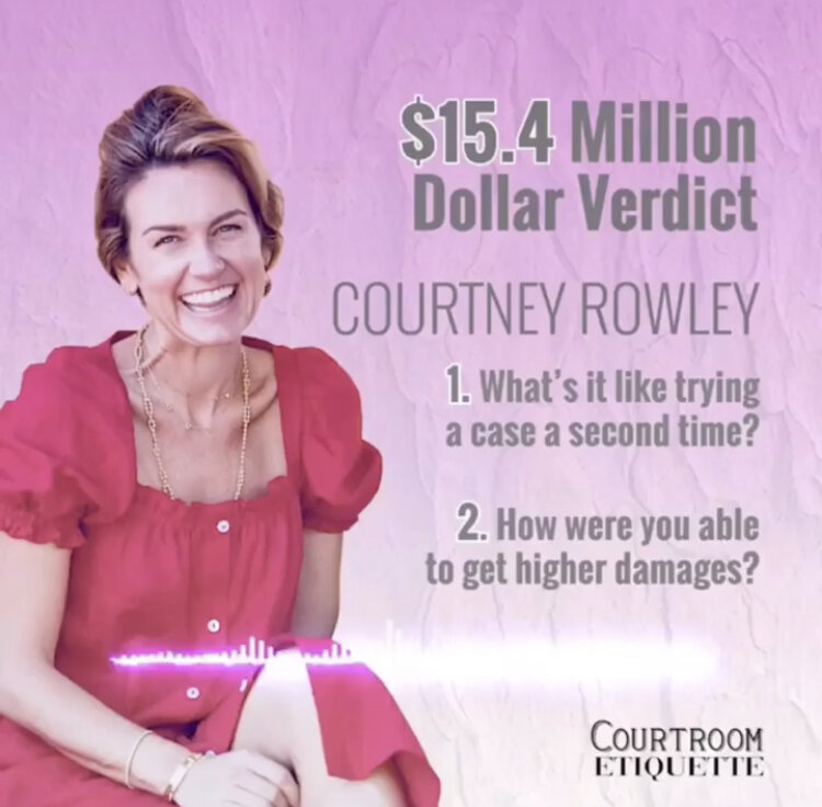 Courtney on retrying a case - Courtney talks about what it was like to try a case again against a big defendant - and how they got more money. Listen here.