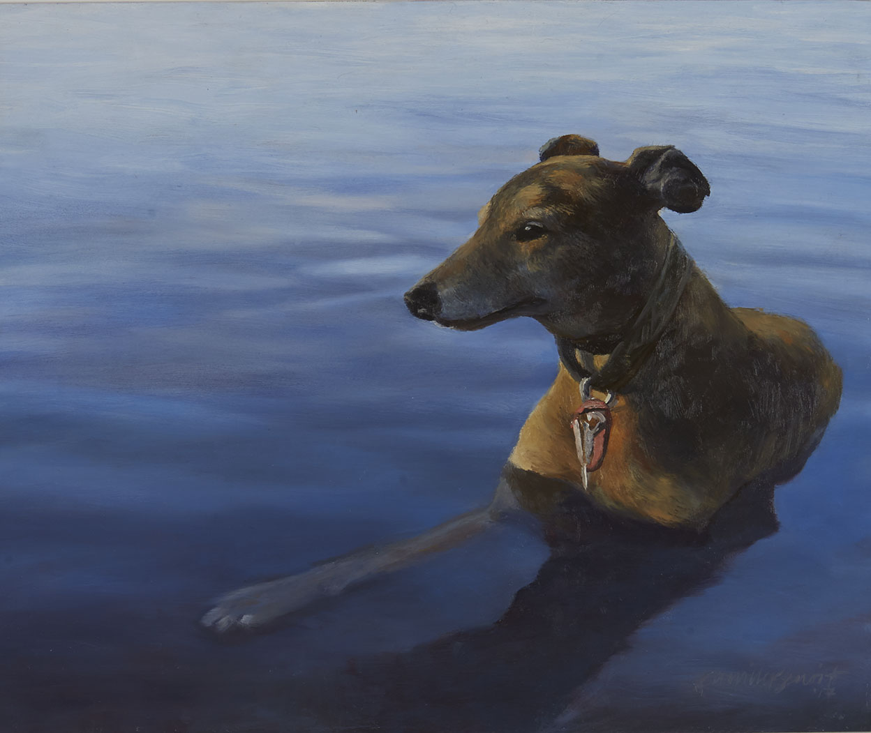 """Leo"" Oil on Panel 18"" x 20"" (2016)   Leo is a Greyhound rescue who absolutely loves to take frequent summer ""dips"" in nearby Lake Harriet."