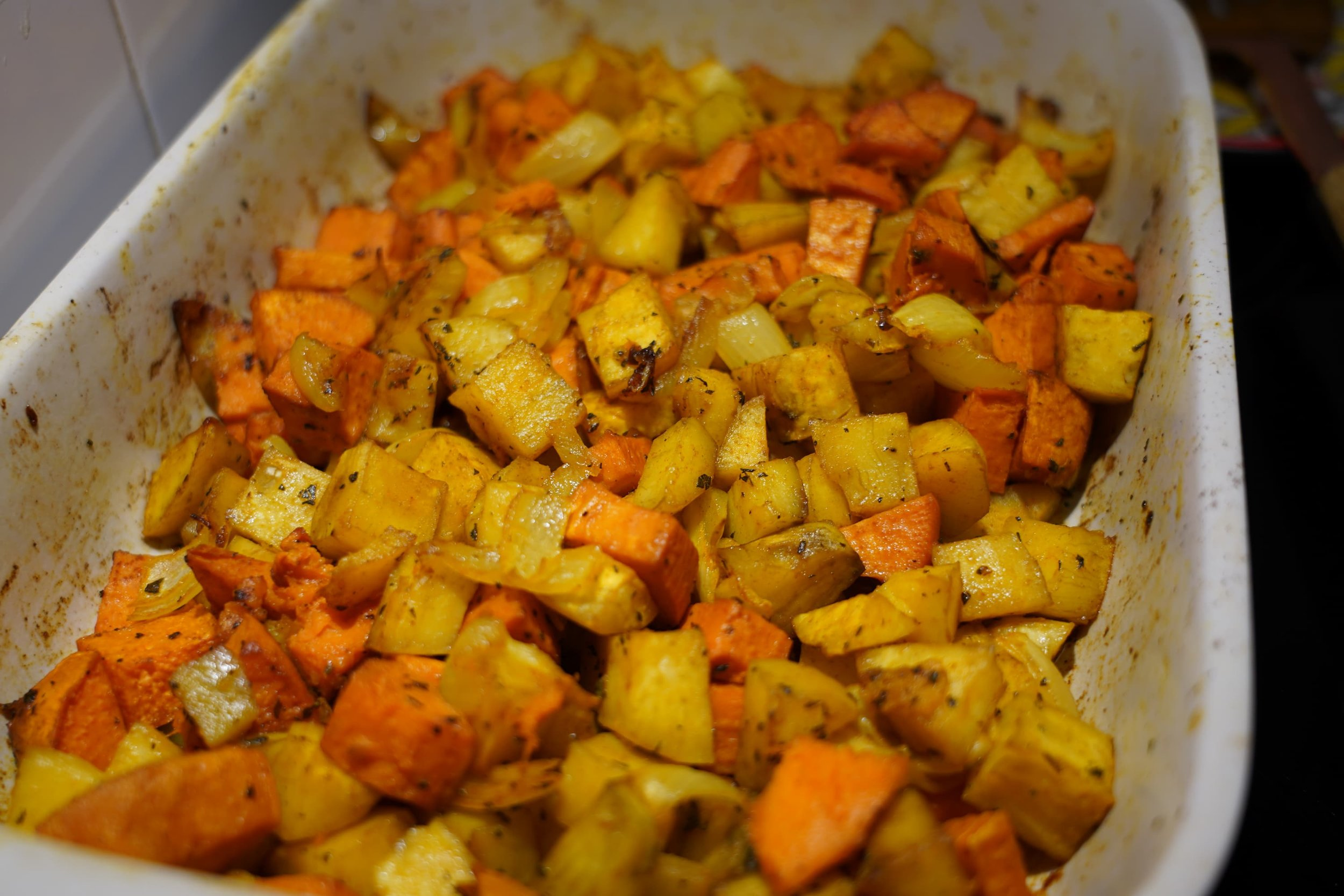 Two varieties of heirloom sweet potatoes and Kabocha squash roasted together (this was the first thing baked to free up the oven for the turkeys).