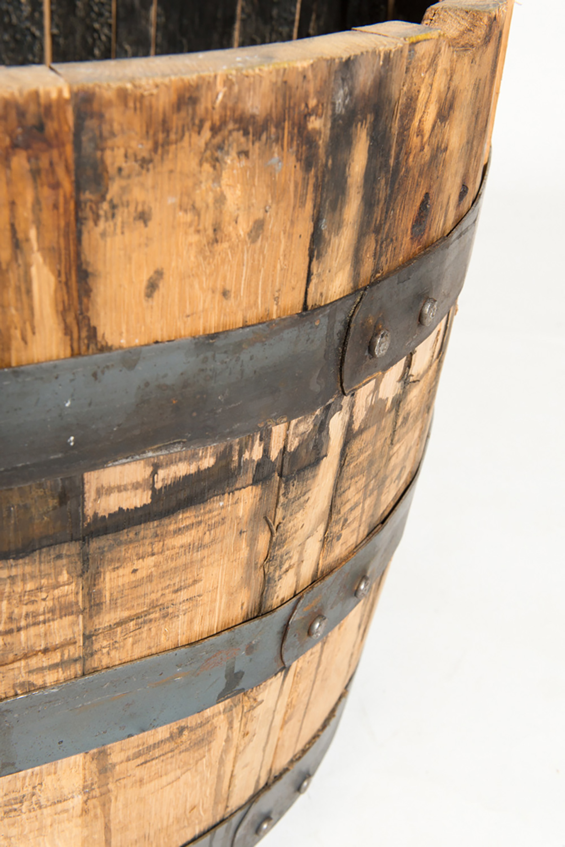 "oak whiskey barrel half dimensions: 26""x17.5"""