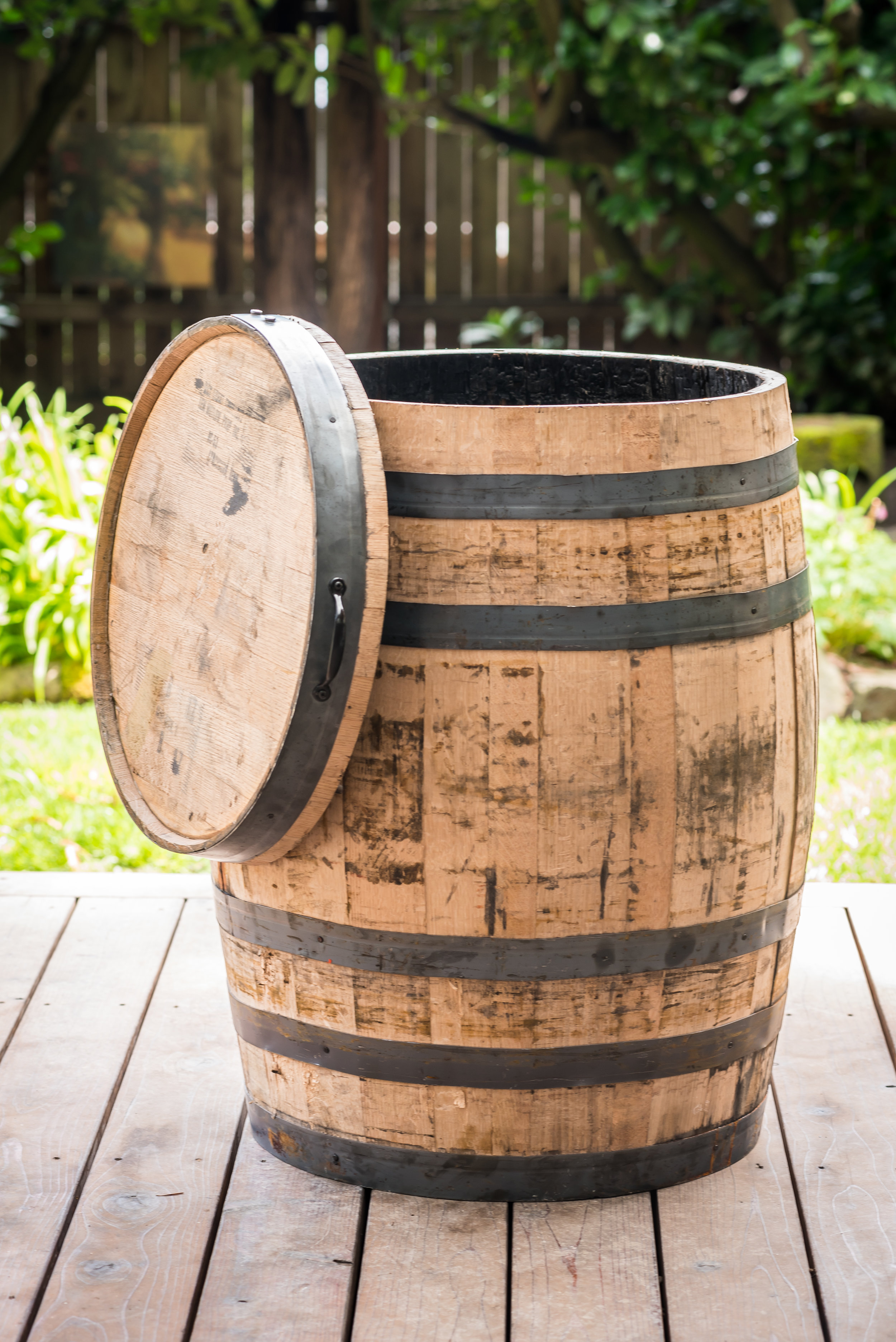 "oak whiskey barrel whole dimensions 27""x36"""