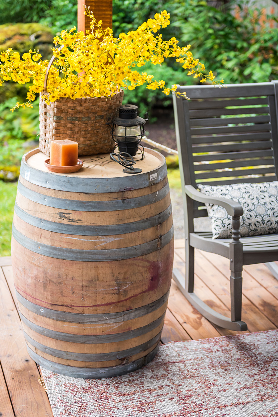 "oak wine barrel whole dimensions: 27""x36"""
