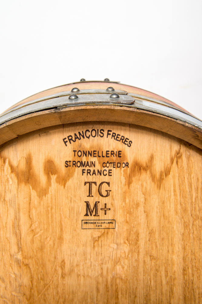 closeup of label on wine barrel