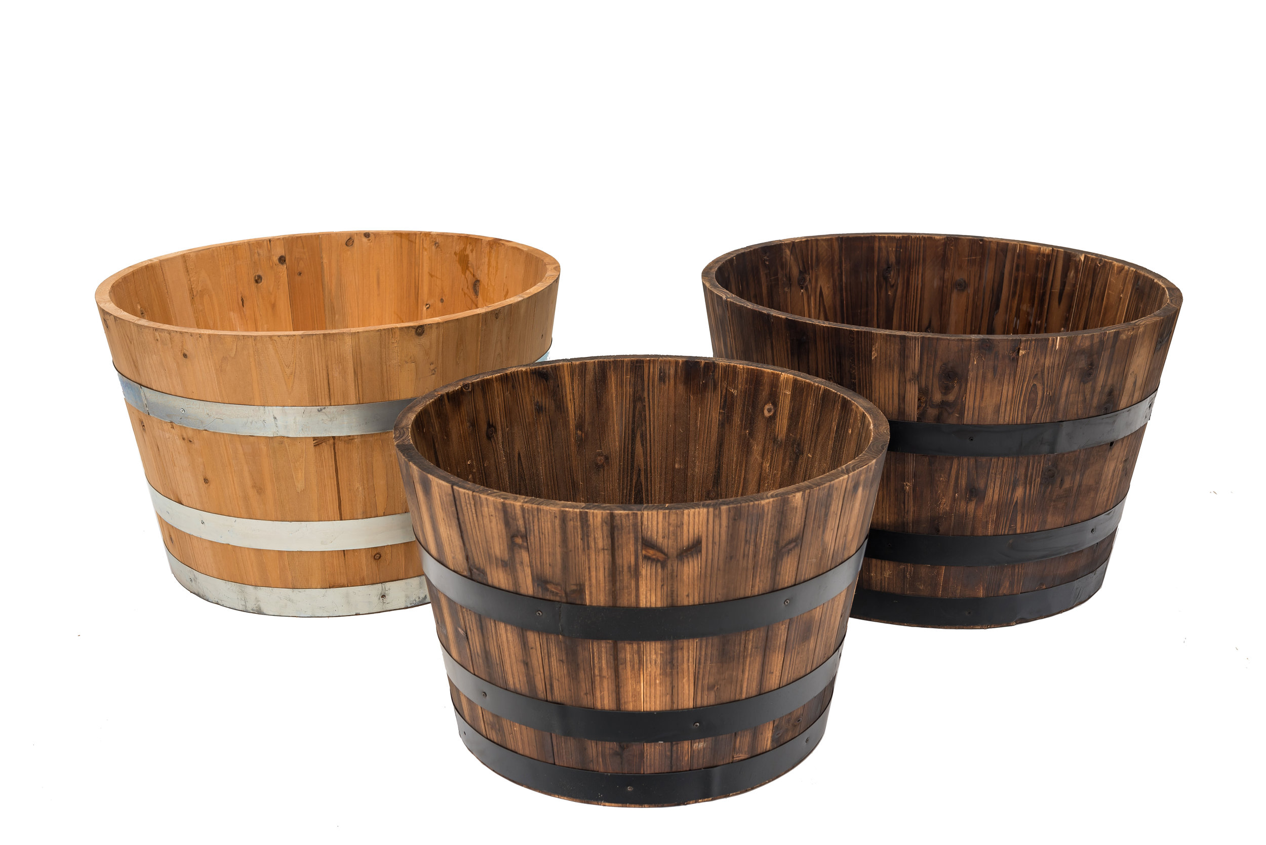 RW wine and whiskey half barrel planters