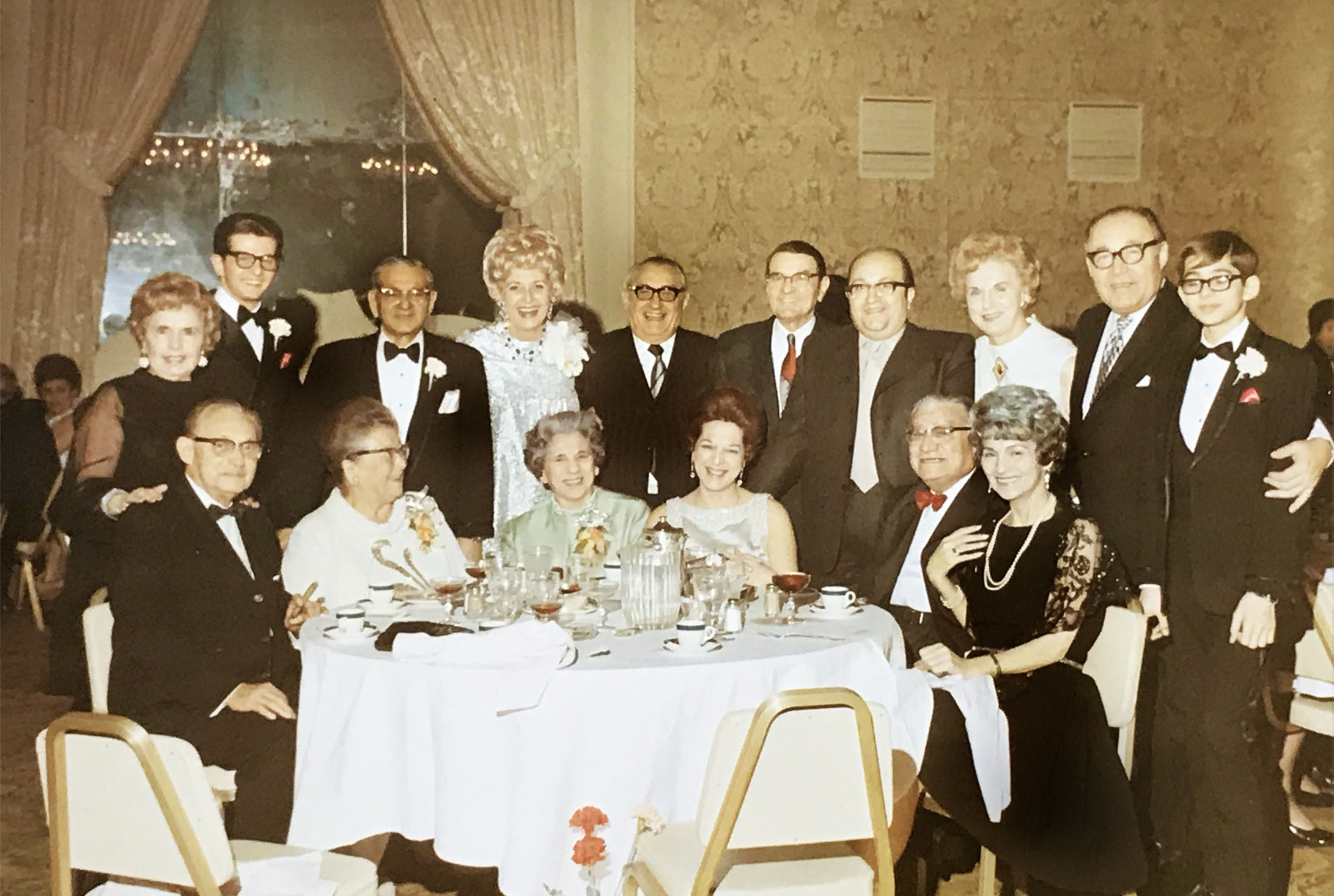 Photo of the Granata Family in 1971. Taken at Sportsman's Park in Cicero, Illinois. Peter C. Granata Sr. is back-row, 3rd from the left. Paul C. Ross is back row, center, 5th from the left. Sue Granata Ross, aged 60, is seated on the far right in Black Lace.