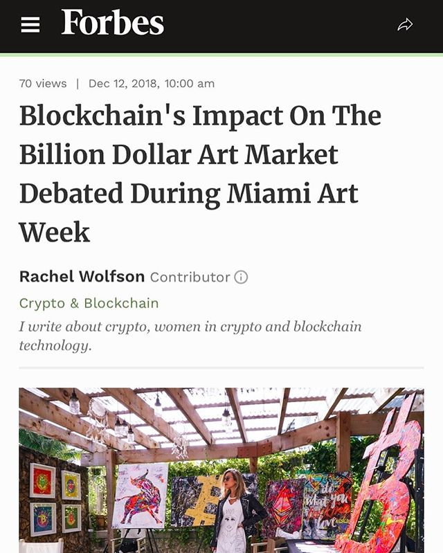 Read up on Forbes about the survey of art and blockchain activities at @artbasel this year! Pleased @blockchainartcollective was able to participate in educating people about the technological and administrative value that Blockchain, IoT, and other emerging technologies bring to the art world. Good things ahead! Thanks to @blockchainandbikinis @forbes @lightnodemedia. Article here: https://www.forbes.com/sites/rachelwolfson/2018/12/12/blockchains-impact-on-the-billion-dollar-art-market-debated-during-miami-art-week/?ss=crypto-blockchain#3368b22b239a