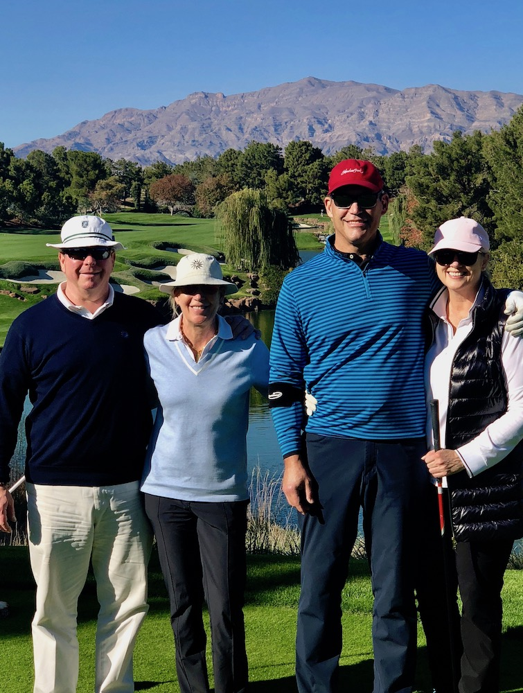 """Fly Fore Leukemia was a great opportunity to support a wonderful cause with dear friends at a world class golf course."" - — Nancy & Mike Kerr (L), Natalie & Drew Dossett (R)"