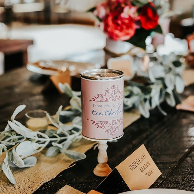 "Rehearsal dinner tonight! These Custom cans that say ""thanks for helping us tie the knot"" are the cherry on top. An alternative way to give a thank you gift for the bridal party.🥂 #alternativegiving #rehersaldinner #wedding #giftsofgab #canograms #congrats #mrandmrs"