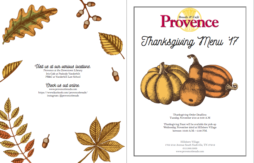 Thanksgiving Menu -