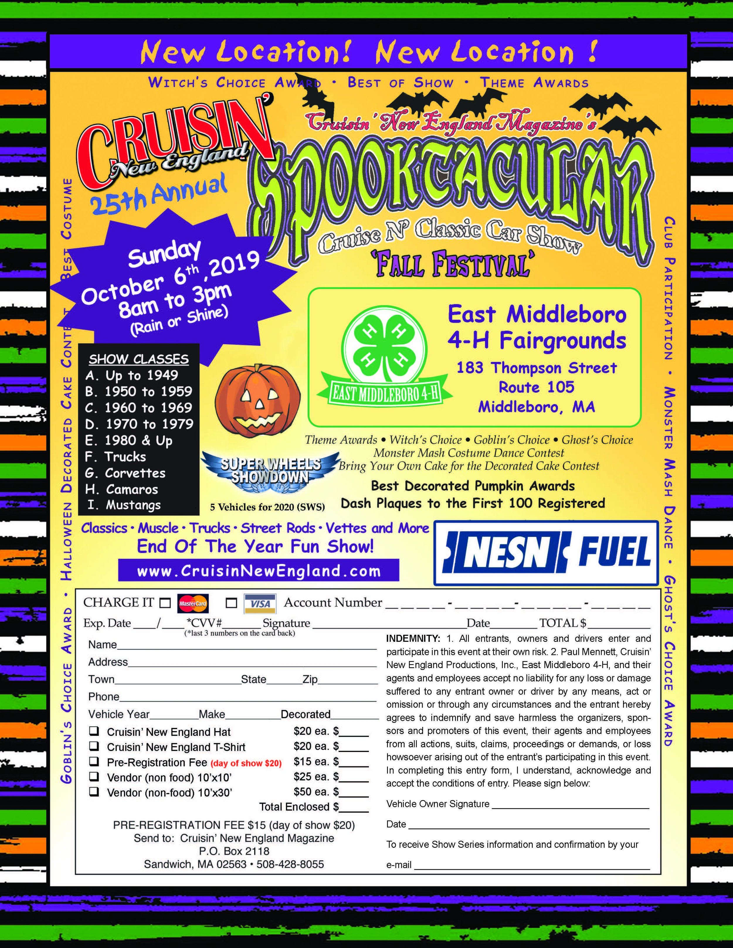 SPOOKTACULAR CRUISE N' CLASSIC at Middleboro 4-H Fairgrounds 10/06/19 -