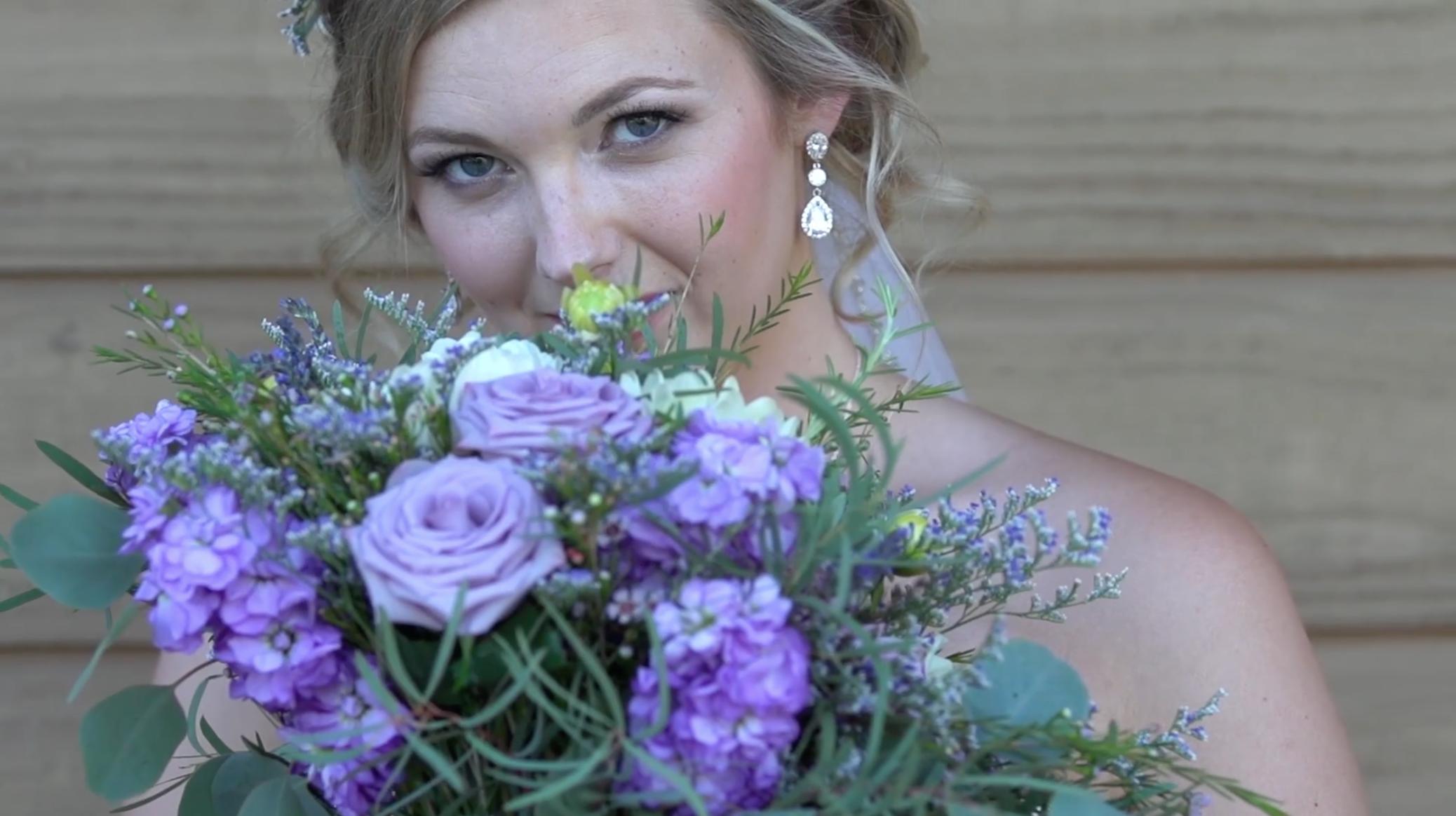 Beautiful Bride Holding Bridal Bouquet