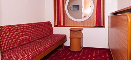 E (top deck, 2 lower beds, 2 upper beds, no window)   61€/person for 4 passengers 63€/person for 3 passengers