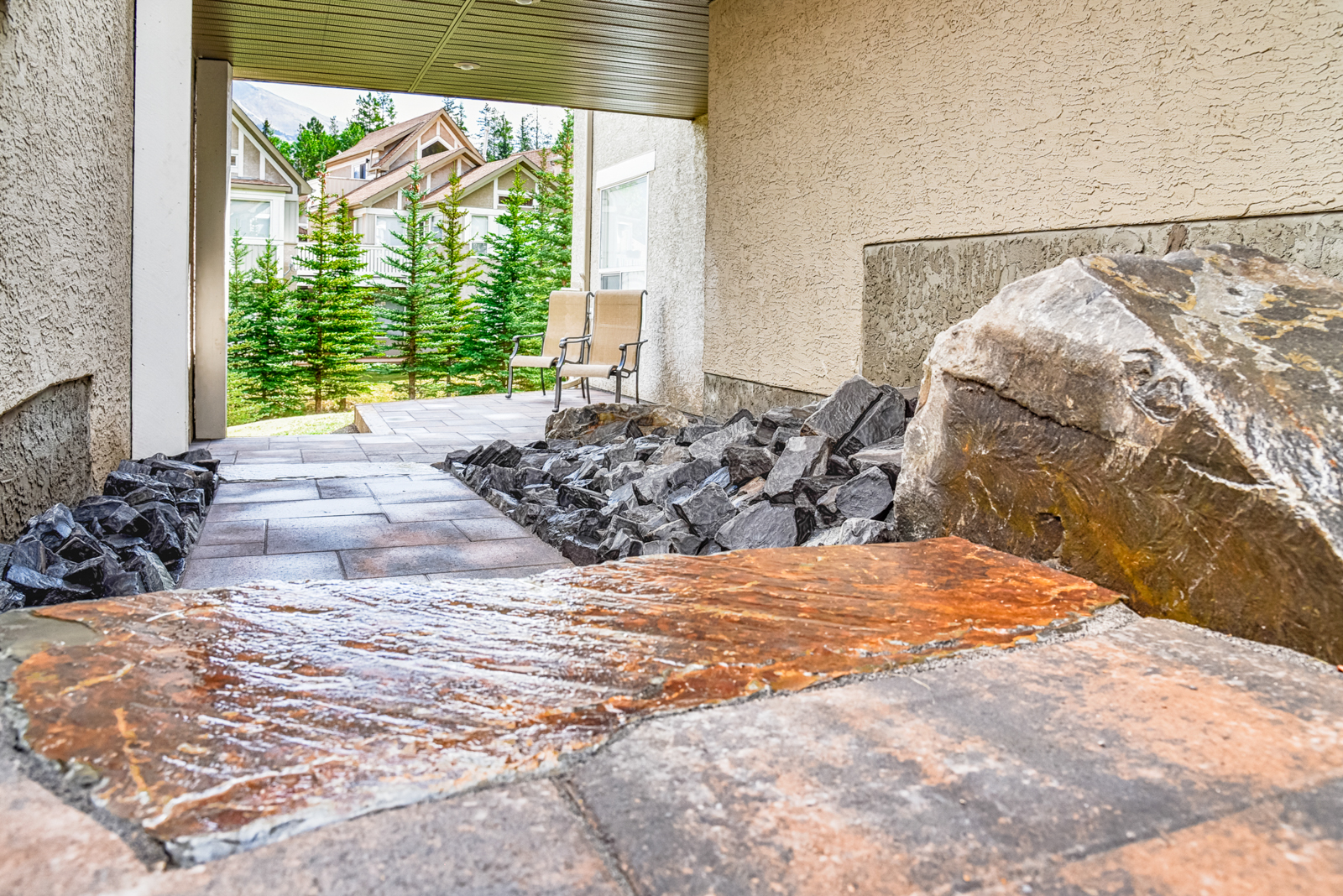 A detail image of rustic paving stones in the Calgary and Banff area