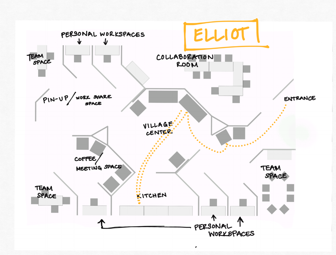 Elliot prefers a relaxed work environment. His work includes either using a laptop or making phone calls, so he likes comfortable chairs and requires no table surfaces. When he makes phone calls he likes to be able to step off somewhere less busy.