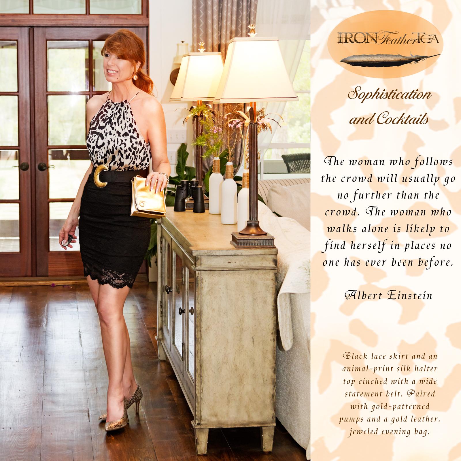 Nan Mac models a black lace skirt and silk halter top.