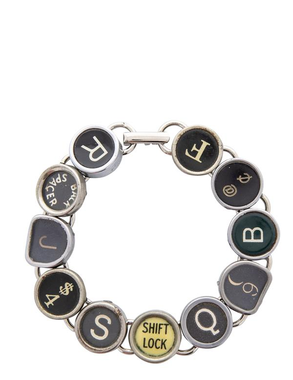 Silver-plated bracelet with antique typewriter keys