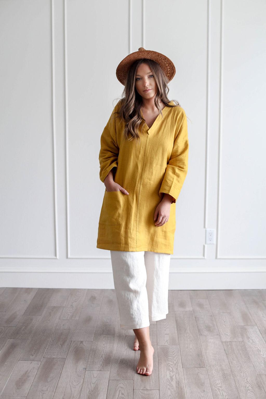 Nomi Designs | Linen Tunic in Cheddar over linen pants.jpg