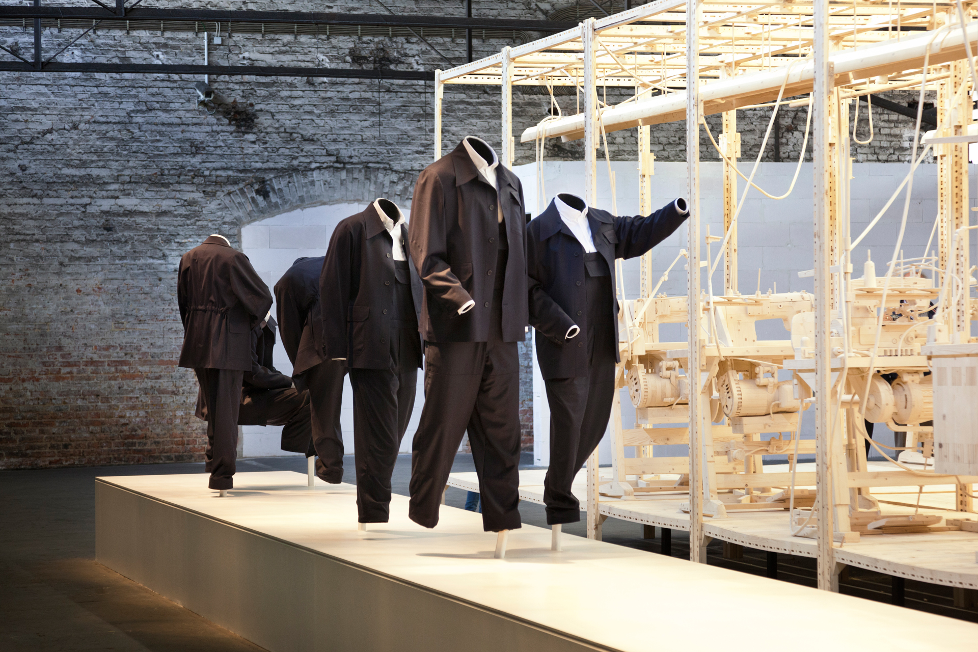 "Istavan Csakany's art work for dOCUMENTA(13) ""The Sewing Room"" erects a monument to the worker, who is visible and invisible at the same time.  Kassel, Germany"