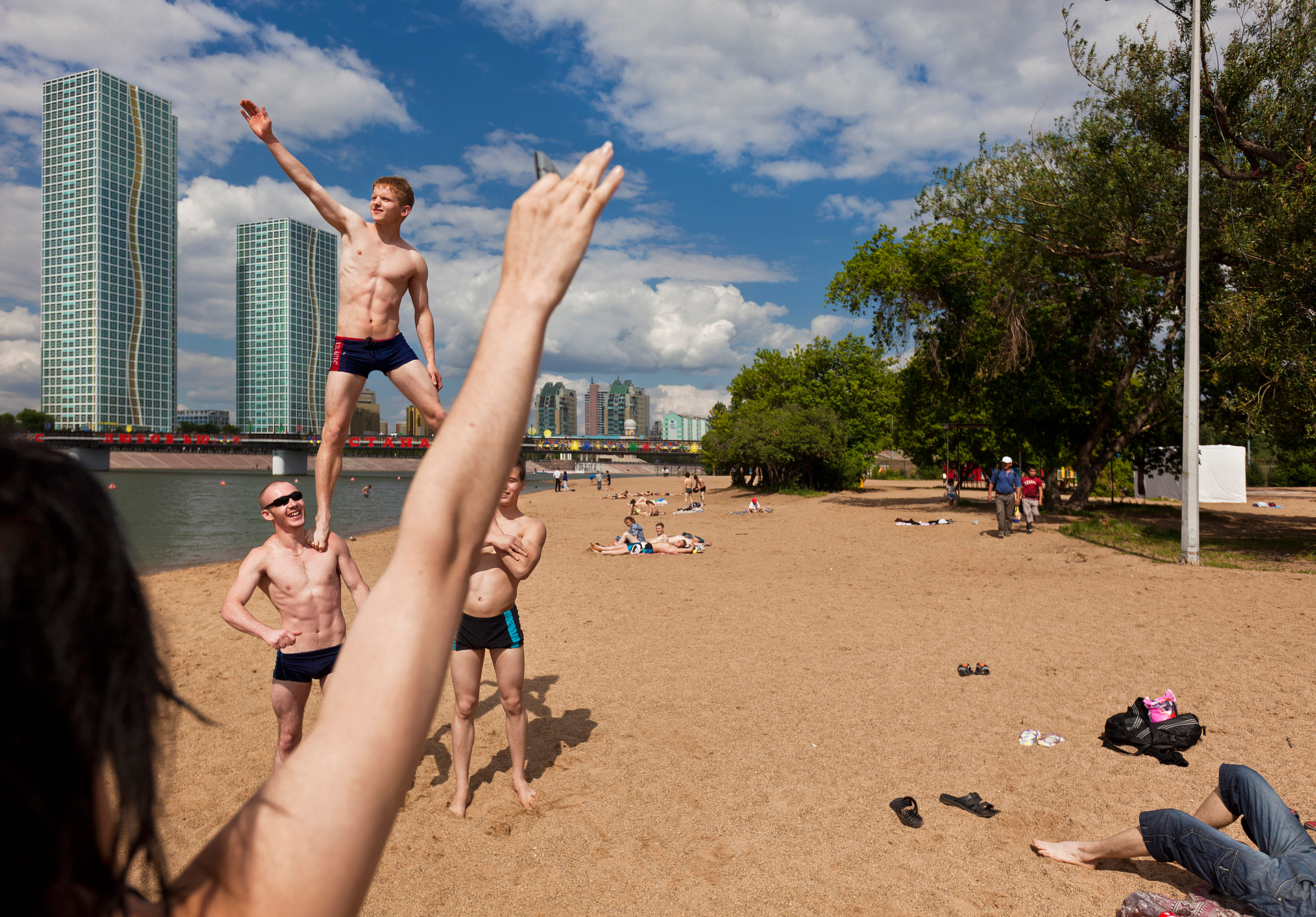 The French Riviera it isn't, but Astana makes the most of its brief summer, when young men gather at the Esil River to flex their muscles before appreciative members of the opposite sex.  Astana, Kazakhstan