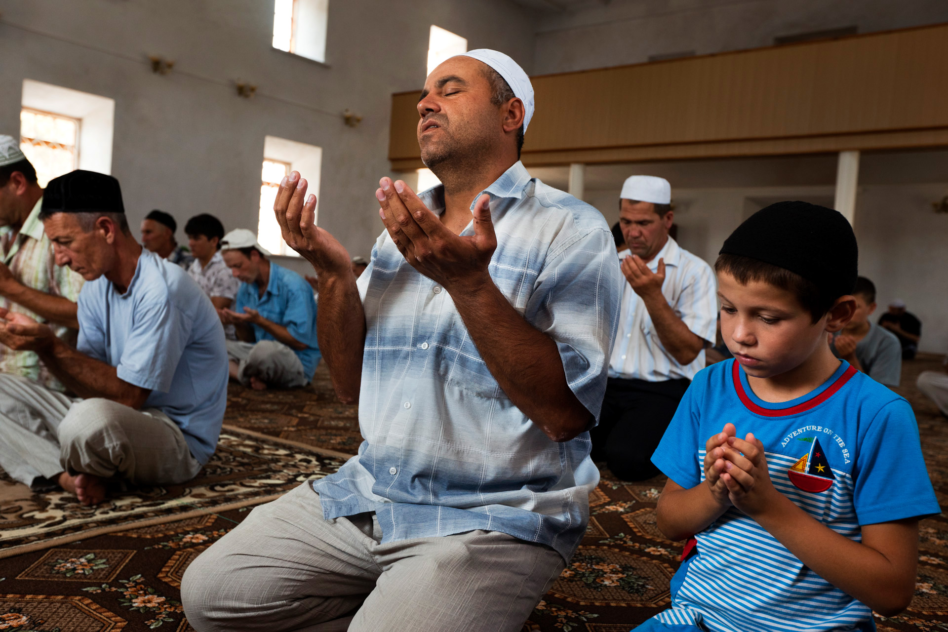 Friday prayers at the mosque in Dachnoe in Crimea, Ukraine.  Dachnoe, Crimea