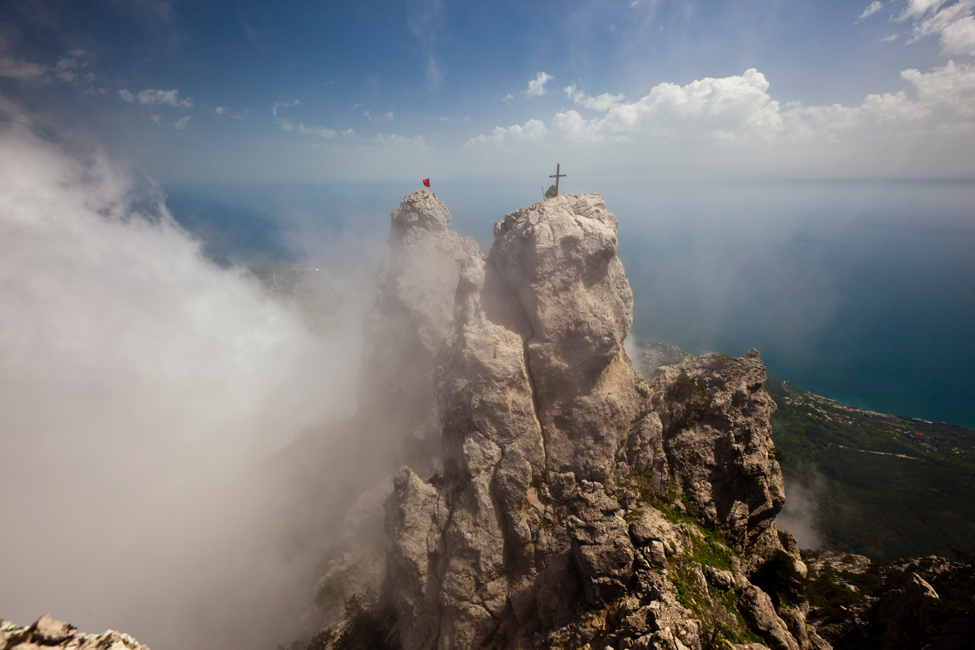 At 1,234m, Ai-Petri is not the highest mountain in Crimea. But it's certainly one of the most spectacular, with its sparkling white limestone peak and its jagged `teeth'.  Miskhor, Crimea