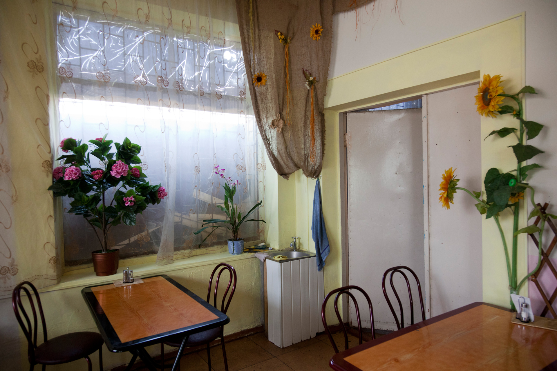 Even though it was only opened a few years ago, the Selena restaurant inside the central market in Simferopol exudes the charm of an old Soviet restaurant.  Simferopol, Crimea