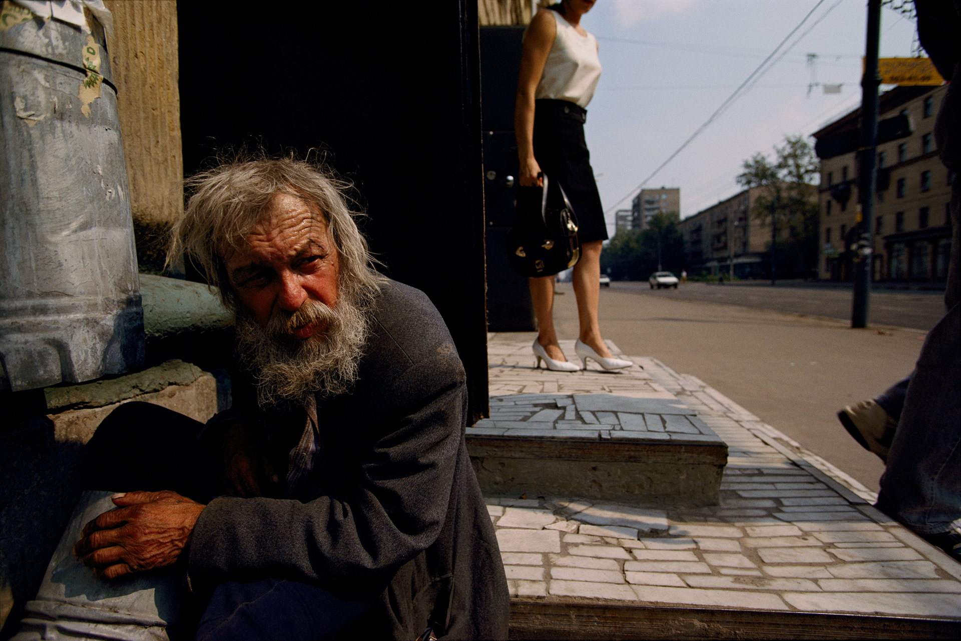 In the early 1990s, the homeless became a feature of Moscow street life. This man was evicted from his apartment by his own son, who decided he needed the space for his live-in girlfriend.  Moscow, Russia