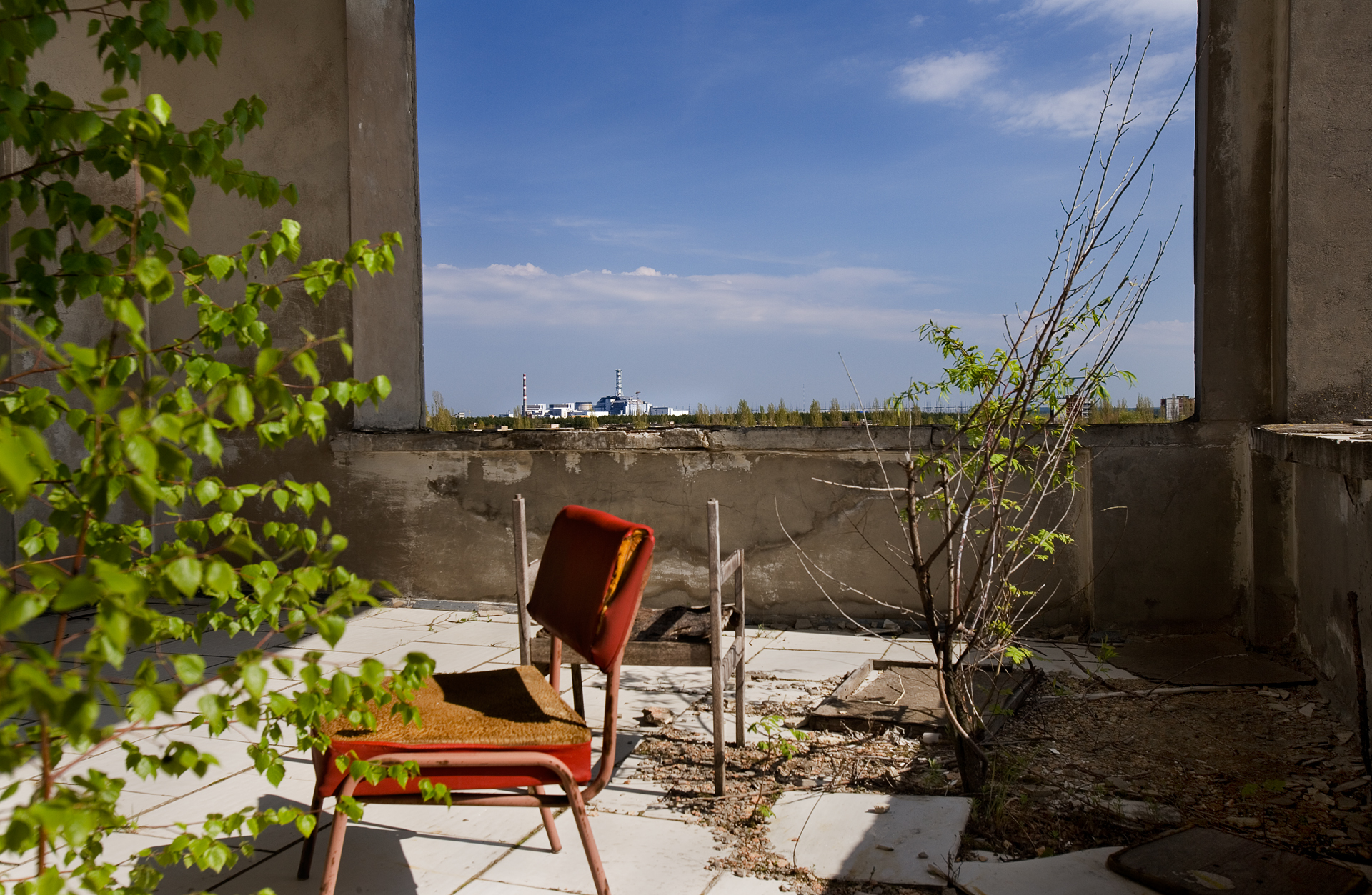 A rooftop view from the former Polissya Hotel in the center of Prypyat shows the proximity of the ill-fated reactor to this former town of 50,000 inhabitants.  Prypyat, Ukraine