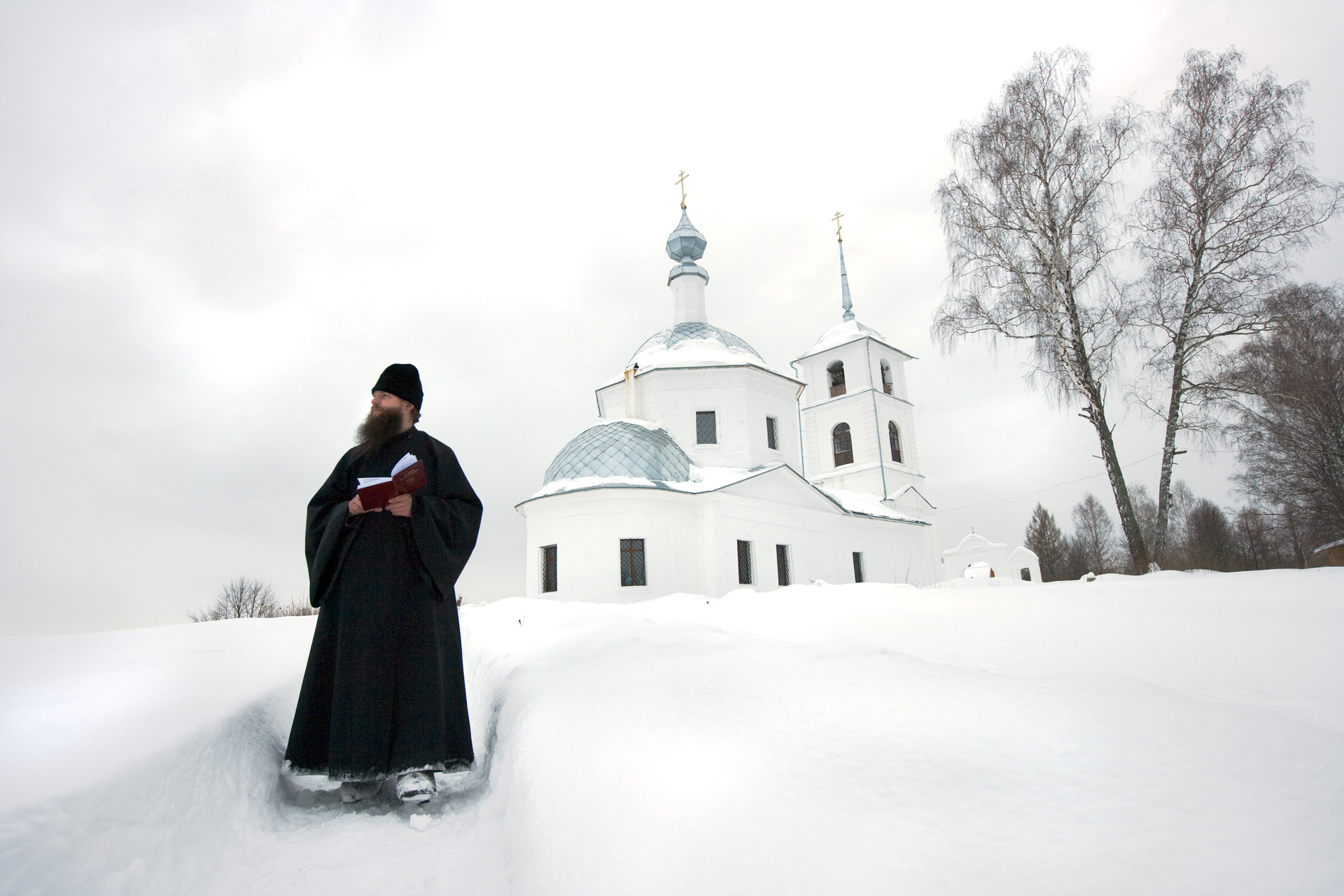Father Sevastyan meditates at Svytao-Kazansky hermitage, one of many Russian Orthodox communities resurrecting across the land.  Near Murom, Russia