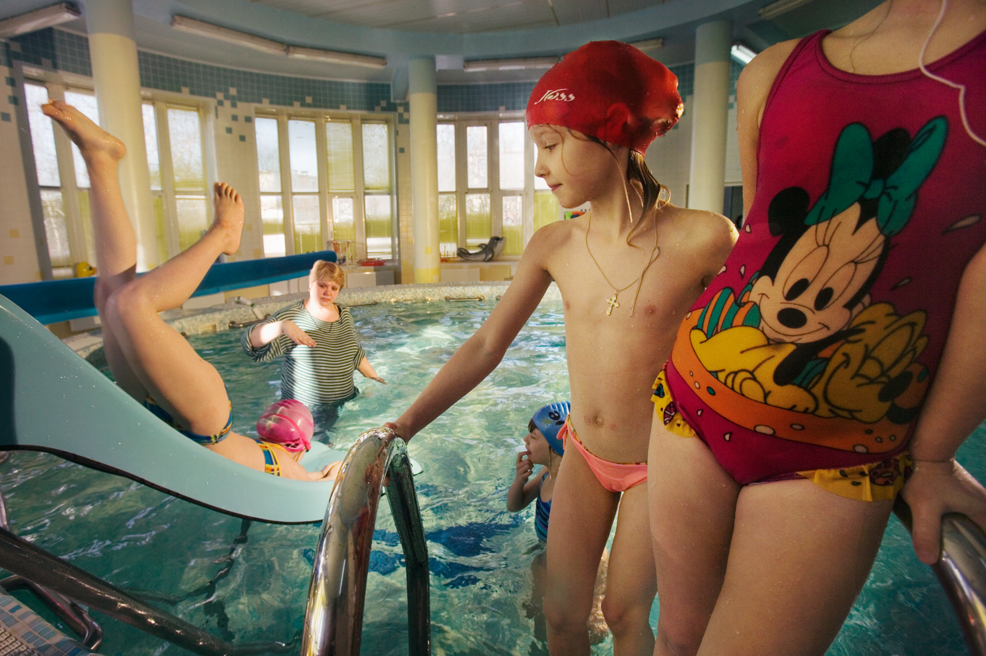 A heated pool in this 30-year-old kindergarten is just one of the perks generated by the region's booming oil and gas economy.  Surgut, Russia